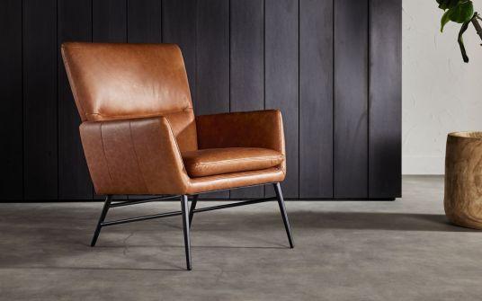 Barbini Leather Armchair in Tan