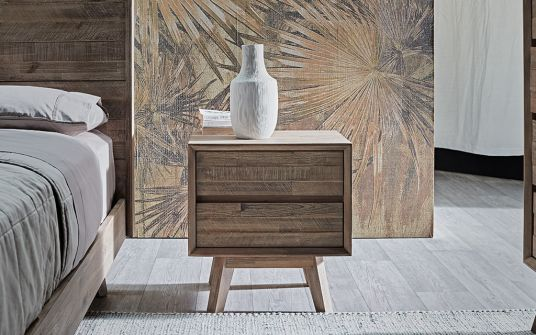 Agoura timber bedside table with storage