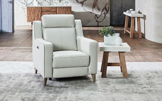 Ario Leather Electric Recliner Armchair in Frost