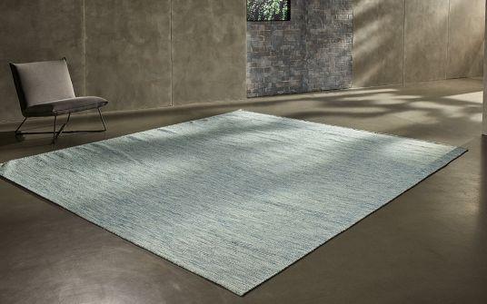 Bringhton aqua wool hand woven and punja loom rug