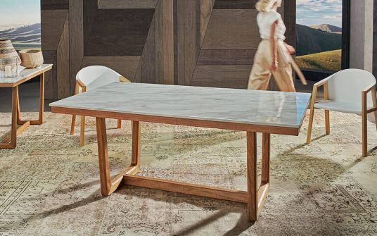 Carlina marble and timber dining table