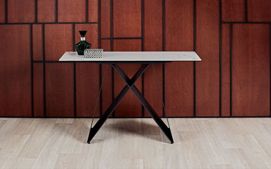 Ceres White Marbled Ceramic Console Table