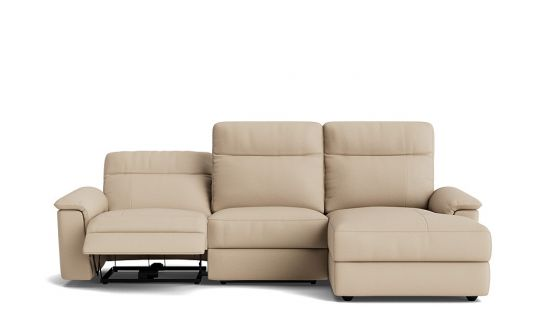 Julio 2.5 seat electric recliner with lay flat + right facing chaise