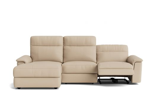 Julio 2.5 seat electric recliner with lay-flat + left facing chaise (battery)