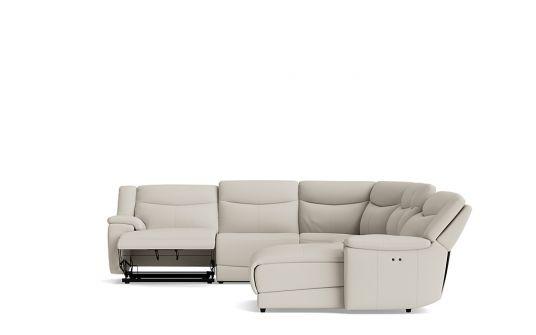 Alpa right facing corner modular + electric chaise + electric recliner