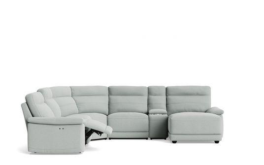 Melinda left facing corner modular + console + right facing chaise