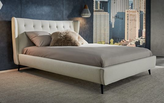 Elsie beige fabric king and queen bed frame