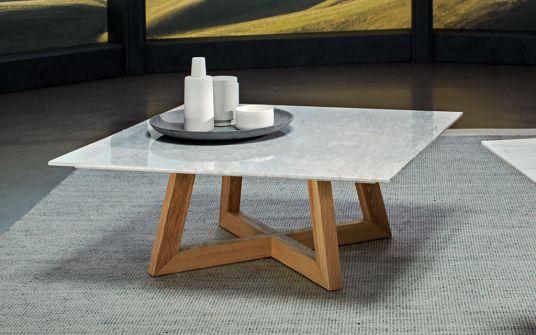 Marconi Carrara marble square coffee table