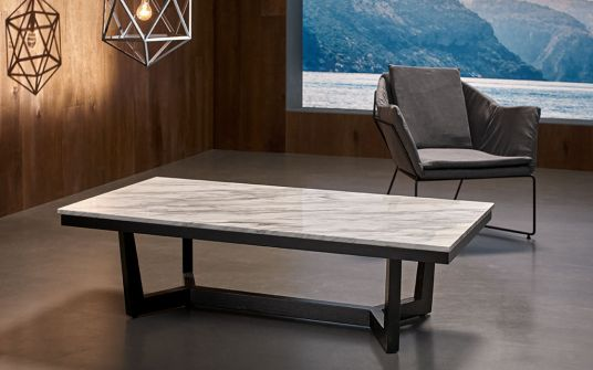 Provence marble and oak coffee table