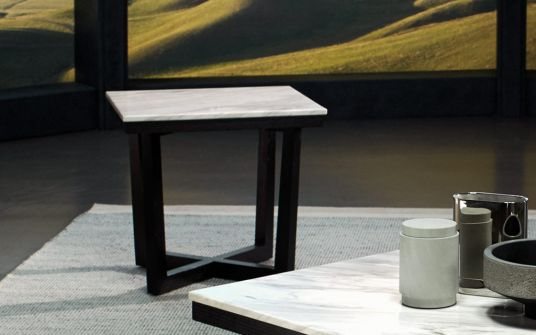 Provence marble and oak side table