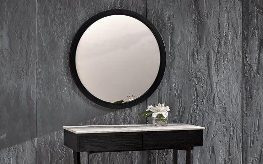 Provence round oak mirror