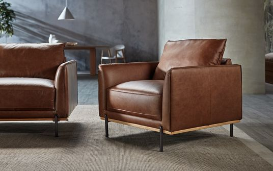 Shannon Leather Armchair In Tan