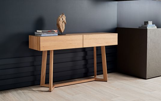 Tropea Oak Timber Console With Drawers